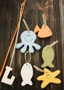 Horgászós játék fából